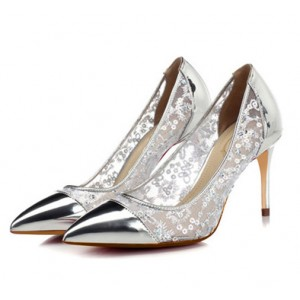 Silver Stiletto Heels Sequined Mirror Leather Pumps for Female