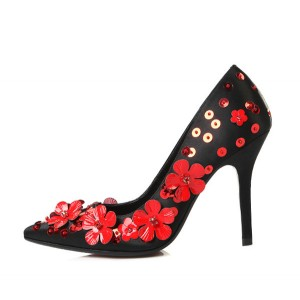 Black and Red Sequined Floral Heels Pointy Toe Stilettos Evening Shoes