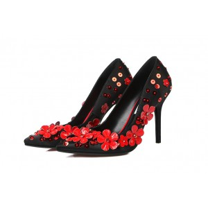 Black and Red Floral Heels Pointy Toe Stiletto Heel Evening Shoes