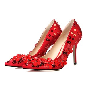 Red Sequined Floral Heels Pointy Toe Evening Shoes Stiletto Heel Pumps