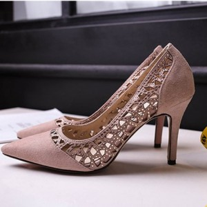 Light Pink 3 Inch Heels Hollow out Stilettos Suede Pumps