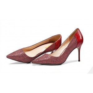 Women's Burgundy Stiletto Heels Dress Shoes Pointy Toe Sexy Pumps