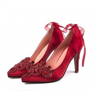 Coral Red Rhinestone Elegant Stiletto Heel Satin Bridal Shoes