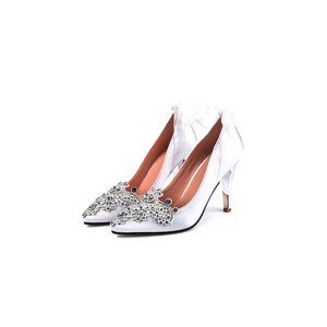 White Bridal Heels Rhinestone Satin Ribbon Pumps for Wedding