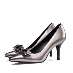 Grey Metallic Bow Heels Pointy Toe Mid Heel Office Pumps