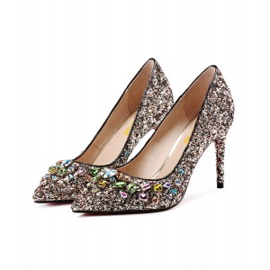 Women's Silver Glitter Colorful  Rhinestone Stiletto Heels Bridal Shoes