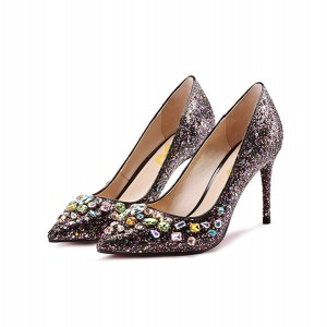Colorful Glitter Rhinestone Elegant Stiletto Heel Bridal Shoes
