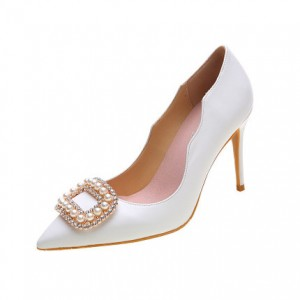 White Bridal Heels Rhinestone Pointy Toe Pumps Stiletto Heels for Wedding