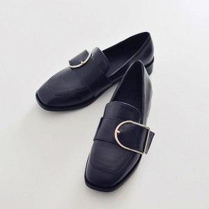 Women's Black Buckle Slip-on Flat  Vintage Comfortable Flats