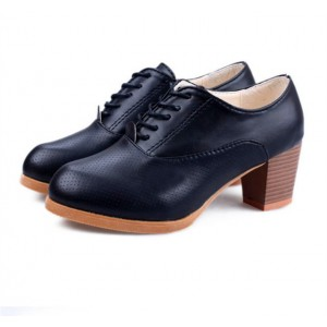 Black  Round Toe Vintage Lace-up Pumps Wooden Heel Shoes