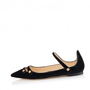 Black Mary Jane Suede Vintage Flats