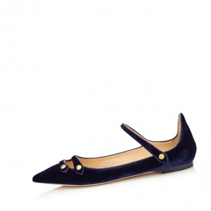 Darkblue Mary Jane Suede Vintage Pointed Toe Flats