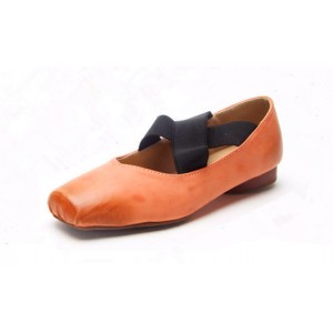 Orange Elastic Strap Flats Vintage Shoes
