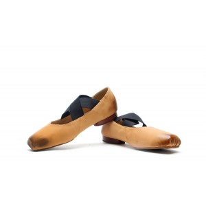 Brown  Elastic Strap Flats Vintage Shoes