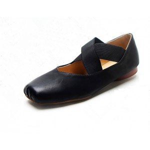 Black Comfortable Flats Square Toe Retro Ballet Shoes for Female