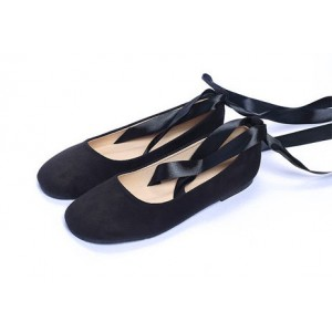 Black Comfortable Flats Strappy Suede Ballet Shoes for Female
