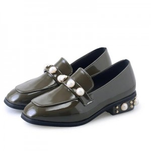 Army Green Vintage Shoes Square Toe Patent Leather Lofers with Pearls