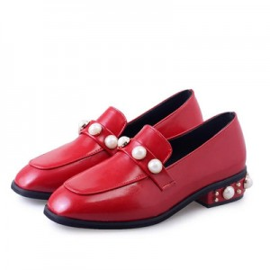 Red Vintage Square Toe Low Heel Pearls Loafers for Women