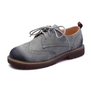Grey Round Toe Vintage Lace-up Flat Women's Oxfords