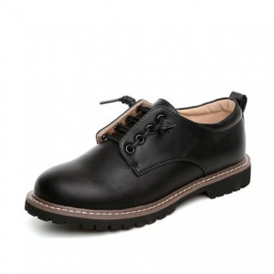 Black Women's Oxfords Lace up Flats Comfortable School Shoes