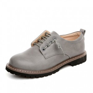 Vita Grey Round Toe Vintage Shoes Lace-up Flats Women's Oxfords