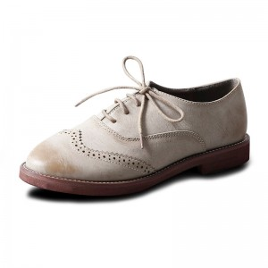 Women's Beige Oxfords Lace-up Heels Vintage Shoes Comfortable Flats