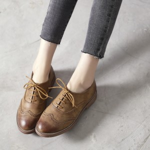 Brown Round Toe Vintage Lace-up Flats Women's Oxfords