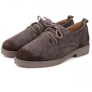 Brown Vintage Shoes Suede Lace up Flat Oxfords