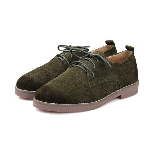 Dark Green Round Toe Vintage Shoes Lace-up Flats Women's Oxfords