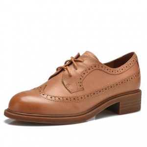 Tan Women's Oxfords Round Toe Lace-up Vintage Shoes