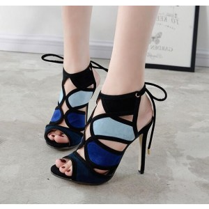 Women's Navy and Blue Slingback Stiletto Heel Sandals Prom Shoes