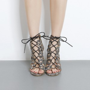 Grey Python Lace up Sandals Strappy Stiletto Heels