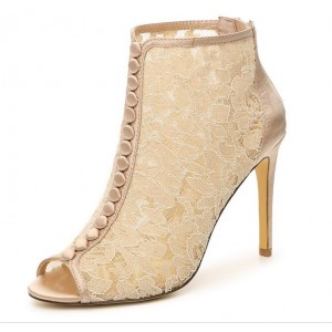 Women's Beige Lace Ankle Boots Peep Toe 4 Inch Heels Wedding Shoes
