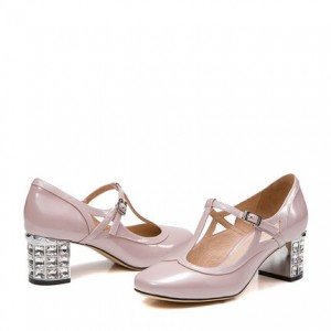 Pink T Strap Pumps Rhinestone Block Heel Pumps for Girls