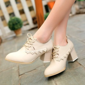 Beige Lace-up Brogues Block Heel School Shoes