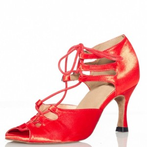Red Heels Strappy Peep Toe Sandals for Prom
