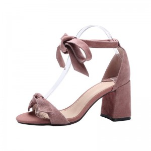 Pink Block Heel Sandals Suede Ankle Bow Heels