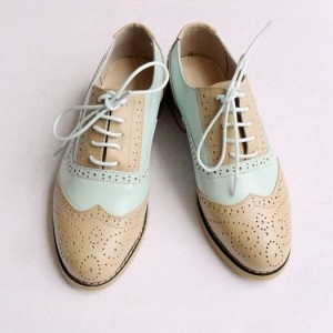 White and Nude Round Toe Oxfords Vintage-Retro Flats School Shoes