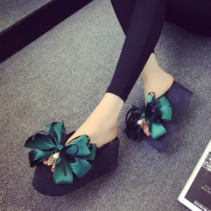 Green Satin Bow Wedge Flip Flops Cute Platform Sandals