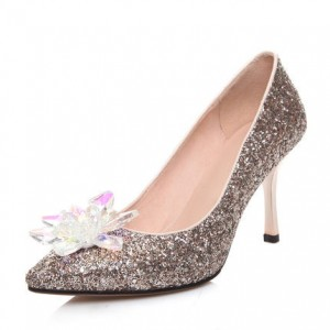 Women's Golden Heels Dazzling Crystal Stiletto Heel Wedding Heels
