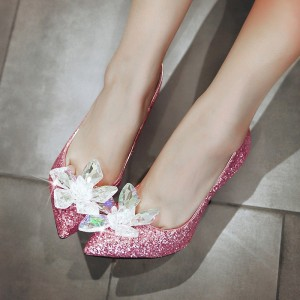 Pink Bridal Heels Rhinestone Sparkly Pointy Toe Glitter Pumps