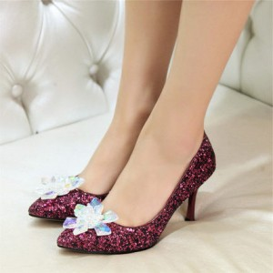 Women's Hot Pink Heels Glitter Crystal Stiletto Heel Bridal Heels