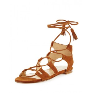 Tan Lace-up Sandals Tassels Suede Strappy Flats
