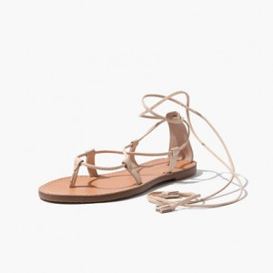 Beige Open Toe Flats Strappy Sandals for Travel