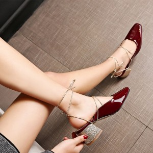 Burgundy Heels Patent Leather and Glitter Square Toe Vintage Mules