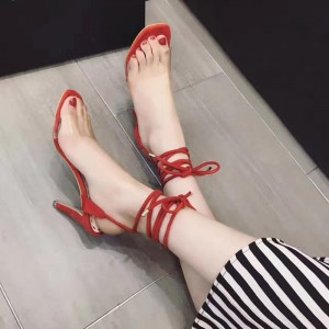 Clear Heels Red Strappy Sandals Open Toe Stiletto Heels for Women