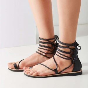 Maroon Gladiator Sandals Knit Strappy Flats for Girls
