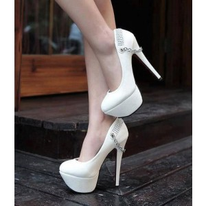 White Platform Heels Stilettos Pumps Metal Chain High Heel Shoes