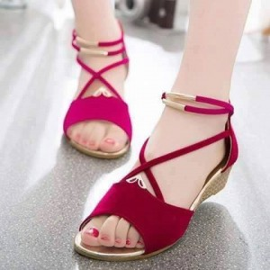 Magenta Suede Wedge Sandals Open Toe Crisscross Strap Low Heel Sandals