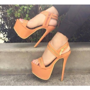 Yellow Platform Heels Golden Zipper Stiletto Heel Open Toe Sandals